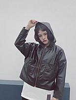 Для женщин Спорт Весна зима Кожаные куртки Капюшон,Винтаж Уличный стиль Однотонный Короткие Длинный рукав,Полиуретановая