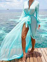 Для женщин На выход Пляж Праздник Весна Лето Блуза Глубокий V-образный вырез,Секси Простое Однотонный Длинный рукав,Полиэстер,Средняя