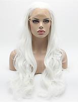 perruques synthétiques résistantes à la chaleur dentelle vague de corps avant perruque de cheveux de fibres de couleur blanche de cheveux