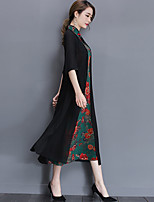 Women's Plus Size Casual/Daily Vintage A Line Dress,Print Stand Midi ½ Length Sleeve Polyester Spring Summer Mid Rise Inelastic Medium