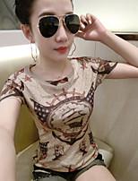 Tee-shirt Femme,Imprimé Plage Chic de Rue Manches Courtes Col Arrondi Coton