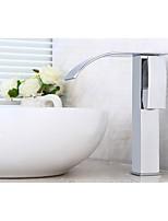 Contemporain Set de centre Cascade with  Soupape céramique Mitigeur un trou for  Chrome , Robinet lavabo