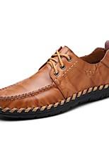 Черный Темно-русый-Для мужчин-Для прогулок Для офиса Для вечеринки / ужина Повседневный-Наппа LeatherУдобная обувь-Туфли на шнуровке