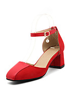 Sandaletler-Ofis ve Kariyer Elbise Rahat-Rahat Bilekten Bağlamalı-Kırpma PU-Kalın Topuk--Kadın