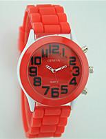 Damen Modeuhr Armbanduhr Quartz Silikon Band Bequem Schwarz Weiß Blau Rot Grün Lila