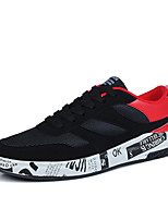 Herren Sneaker Komfort Slouch Stiefel Tüll PU Frühling Herbst Normal Walking Komfort Slouch Stiefel Schnürsenkel Flacher AbsatzSchwarz