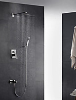 16 Inch Stainless steel Rectangle Wall Mounted Rain Shower Handshower Single Handle Two Holes Three Functions