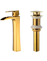 Contemporary Centerset Waterfall with  Ceramic Valve Single Handle One Hole for  Ti-PVD , Bathroom Sink Faucet
