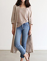 Women's Going out Casual/Daily Simple Street chic Spring Fall Blazer,Solid Shawl Lapel Long Sleeve Long Cotton Linen