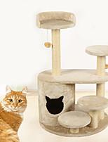 Cat Toy Interactive Luxury Climbing Rack Scratch Pad Durable Wood Plush Beige