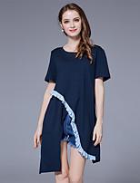 Damen Solide Street Schick Ausgehen Lässig/Alltäglich T-shirt,Rundhalsausschnitt Sommer Kurzarm Baumwolle Elasthan Dünn