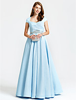 TS Couture Formal Evening Dress - Vintage Inspired A-line Queen Anne Floor-length Satin with Beading Pockets Pleats