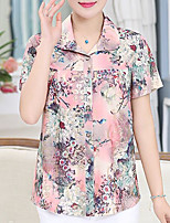 Women's Casual/Daily Simple T-shirt,Floral Shirt Collar Short Sleeve Silk