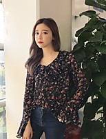 Women's Casual/Daily Simple Shirt,Floral V Neck Long Sleeve Others