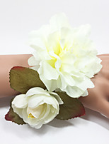 Doublle Wedding Flowers Hand-tied Roses Wrist Corsages Bracelet Elastic Satin 0.98(Approx.2.5cm)