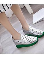 Белый Черный Серебряный-Для женщин-Повседневный-ПолиуретанУдобная обувь-Мокасины и Свитер