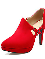 Women's Heels Spring Fall Formal Shoes Leatherette Outdoor Office & Career Party & Evening Dress Casual Stiletto Heel Buckle Red Black