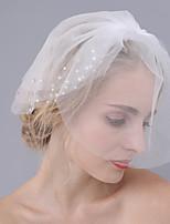 Wedding Veil Three-tier Blusher Veils Cut Edge Tulle Rhinestone By Hand