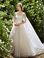 Ball Gown Wedding Dress - Chic & Modern Sparkle & Shine Watteau Train Straps Tulle with Sequin Appliques Beading Crystal