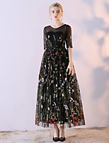 Formal Evening Dress A-line Jewel Ankle-length Organza Satin Chiffon with Embroidery