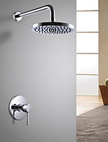 Contemporary Art Deco/Retro Modern Shower Only Widespread with  Ceramic Valve Single Handle One Hole for  Chrome , Shower Faucet