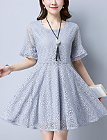 Women's Plus Size Slim chic Loose Lace Cut Out Dress Solid Jacquard Ruffle  Round Neck Mini Short Sleeve Summer Mid Rise