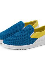 Masculino-Mocassins e Slip-Ons-Solados com Luzes Conforto-Rasteiro-Bege Cinzento Azul-Couro Ecológico-Ar-Livre Escritório & Trabalho