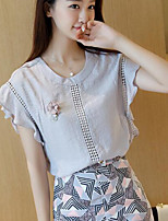 Women's Going out Simple Blouse,Solid Round Neck Short Sleeve Cotton