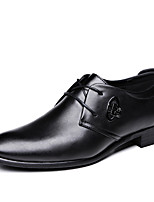 Черный-Для мужчин-Свадьба Повседневный Для вечеринки / ужина-Дерматин-На плоской подошве-Формальная обувь-Туфли на шнуровке