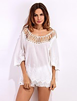 Women's Going out Party Sexy Cute Spring Summer Shirt,Solid Round Neck ½ Length Sleeve Spandex Sheer