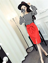 Women's Going out Simple T-shirt Skirt Suits,Solid Striped Round Neck