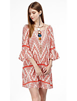 Women's Going out Casual/Daily Beach Simple Cute Sophisticated Loose Dress,Solid Geometric Round Neck Above Knee ½ Length SleeveRayon