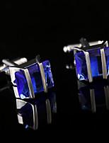 Argola Prendedor de Gravada Clipe de gravata Cobre Moda Caixas de presente e Bolsas Botões de Punho Prateado Azul 1 par
