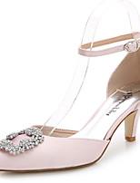 Damen-Sandalen-Hochzeit Outddor Büro Kleid Lässig Party & Festivität-Seide-Stöckelabsatz-D'Orsay und Zweiteiler-Weiß Leicht Rosa