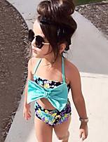 Girls' Bow Print FLOWER Swimwear Cotton Sandy Beach Swimming Kids Baby Clothing FenLieShi Swimsuit