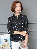 Women's Casual/Daily Simple Blouse,Print Round Neck Long Sleeve Polyester