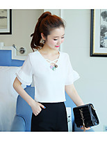 Women's Casual/Daily Simple Blouse,Solid Asymmetrical Short Sleeve Polyester