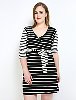 Really Love Women's Plus Size Casual/Daily Party Sexy Simple Street chic Shift T Shirt Black and White Dress,Striped Color Block V Neck Knee-length½