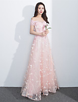 Formal Evening Dress - Lace-up A-line Bateau Floor-length Lace with Beading