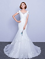 Trumpet / Mermaid Wedding Dress Sweep / Brush Train V-neck Tulle with Lace