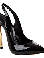 Femme-Décontracté-Blanc Noir Rose-Gros Talon-A Bride Arrière-Chaussures à Talons-Polyuréthane