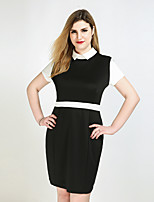 Really Love Women's Plus Size Casual/Daily Party Sexy Vintage Cute Shift Sheath Black and White Dress,Color Block Peter Pan Collar Knee-lengthShort