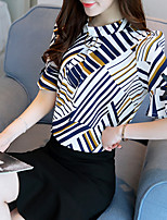 Women's Casual/Daily Simple Summer Blouse,Striped Round Neck Short Sleeve Silk Cotton Opaque