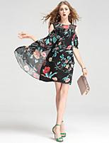 Для женщин На выход На каждый день Офис Секси Уличный стиль Изысканный А-силуэт Платье Цветочный принт,Круглый вырез До колена Выше колена