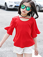 Girls' Casual/Daily Sports Solid Sets,Cotton Summer Short Sleeve Clothing Set
