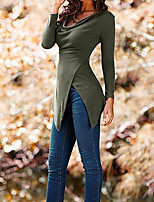 Tee-shirt Femme,Couleur Pleine Décontracté / Quotidien simple Manches Longues Col Arrondi Coton Fin