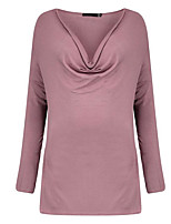 Women's Casual/Daily Sexy T-shirt,Solid Deep V Long Sleeve Polyester Thin