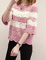 Women's Casual/Daily Regular Pullover,Striped Round Neck ¾ Sleeve Rayon Summer Thin Micro-elastic