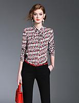 Langærmet Høj krave Medium Damer Geometrisk Forår Sommer Sødt I-byen-tøj Afslappet/Hverdag Skjorte,Silke Rayon
