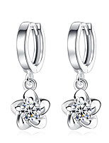 Drop Earrings Flower Style Cubic Zirconia Platinum Plated Purple White Jewelry For Wedding Party Daily Casual 1 pair